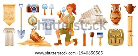 Archaeologist cartoon vector. Archeology ancient history flat icon set. Fossil, pottery, column artifact. Dig excavation tool, brush. Greek Egypt archaeology illustration. Archeologist  3d collection