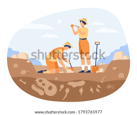 Archaeologist discovering dinosaurs remains. Men digging ground in quarry and cleaning bones. Vector illustration for archeology, paleontology, science, research concept Foto stock ©