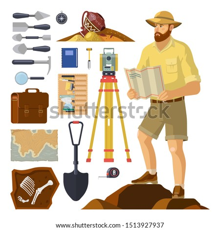 Archaeologist near archaeology items, dig equipment. Archeology explorer and skeleton fossil, archeologist pick and brush, bag and map, bones, antique vase, level tripod, hat. Excavation, paleontology Foto stock ©
