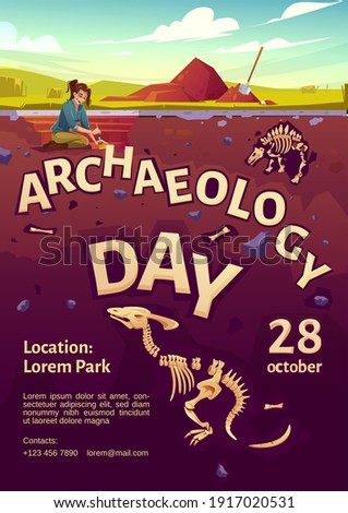 Archaeology day poster with woman explorer on excavation site and buried dinosaurs underground. Vector flyer with cartoon illustration of archeology dig, explorer with brush and fossil skeletons Сток-фото ©