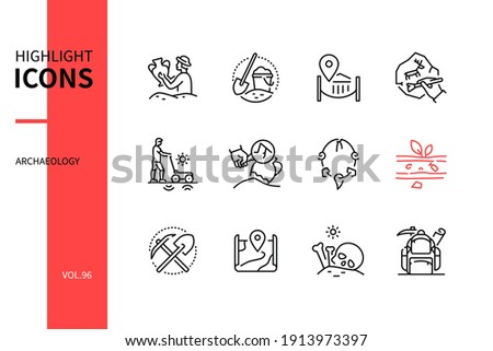 Archaeology - modern line design style icons set. Archaeological discovery, work process and equipment. Archaeologist, excavation, brush, artefact, stratification, map, human remains, expedition image Foto stock ©