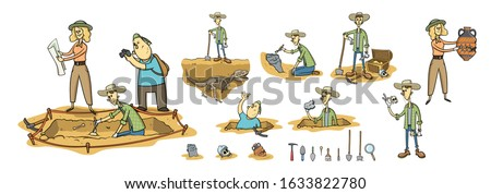Archaeology, paleontology and treasure hunting, archaeologists on excavation site. Set of cartoon caracters and tools. Flat cartoon vector illustration, isolated on white background. Сток-фото ©
