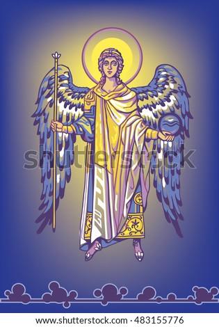 archangel gabriel on a blue