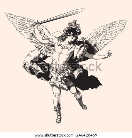 Archangel Michael. Vector illustration.