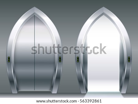 arched doors of the elevator or