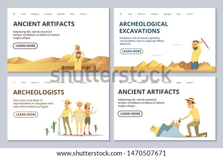 Archeologists landing page templates. Cartoon archaeologists explore antiquities vector illustration. Archaeologist find antiquity, archaeology discover