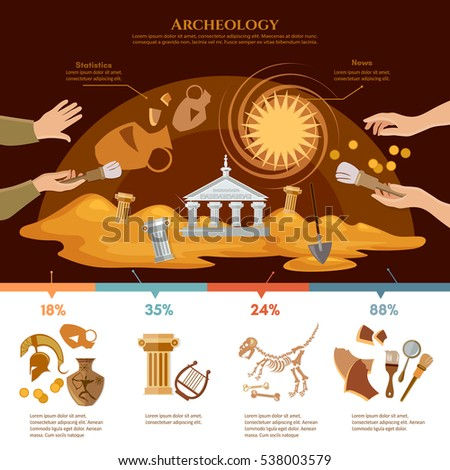 Archeology and paleontology concept. Archaeological excavation infographics achaeologists unearth ancient artifacts ancient history vector illustration