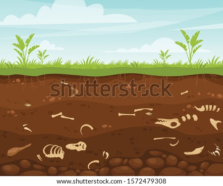 Archeology and paleontology flat vector illustration. Underground surface with dinosaur bones. Buried fossil animals, skeleton bone in dirt. Excavation scene, soil layers, historical artifacts.