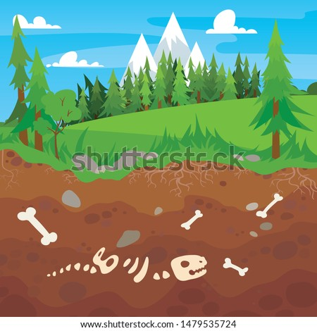 Archeology bones in soil layers. Landscape with trees and fields. Buried dinosaur skeleton bone in dirt and underground clay layer, geological vector cartoon illustration