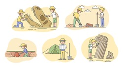 Archeology Excavation Concept. Set Of People Archaeologists Making Excavation Of Ancient Remains in Antique Ruins. People Exploring Ancient Culture. Cartoon Linear Outline Flat Vector Illustration