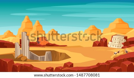 Archeology flat vector illustration. Archaeological site, digging hole in desert. History science expedition. Treasure hunting. Ancient architecture building and hieroglyphics on stone exploring Foto d'archivio ©