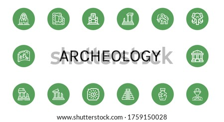 archeology icon set. Collection of Great sphinx of giza, Stonehenge, Moai, Parthenon, Mammoth, Ruined, Ruins, Cave painting, Mayan pyramid, Amphora, Archaeologist icons