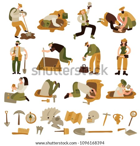 Archeology icons set with bones and equipment symbols flat isolated vector illustration Foto d'archivio ©