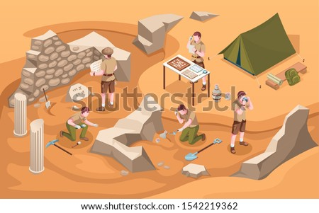 Archeology isometric excavation or archeologist at work. Archaeology job or archaeologist near ancient civilization architecture, columns and tent.Cartoon explorer at historic excavate.Old artifacts Сток-фото ©