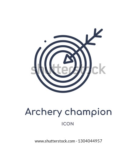 archery champion icon from user interface outline collection. Thin line archery champion icon isolated on white background.