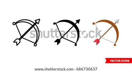 Archery or bow icon of 3 types: color, black and white, outline. Isolated vector sign symbol.