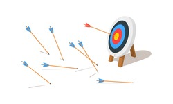 Archery target ring with one hitting and many missed arrows. Dartboard on tripod. Goal achieving idea. Business success and failure symbol. Efficiency and accuracy concept. Vector cartoon illustration