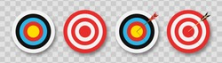 Archery target with arrows. Set of targets at transparent background with shadow. Concept of archery or reaching the goal in business. Vector illustration.