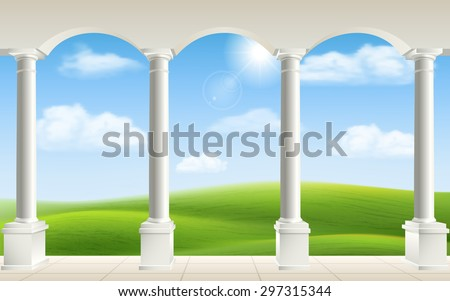 arches and columns on landscape ...