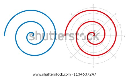 Archimedean spiral on white background. Three turnings of one arm of an arithmetic spiral, rotating with constant angular velocity. Red spiral is represented on a polar graph. Illustration. Vector.