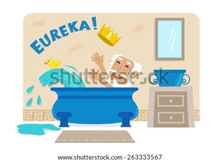 archimedes in bathtub   cartoon