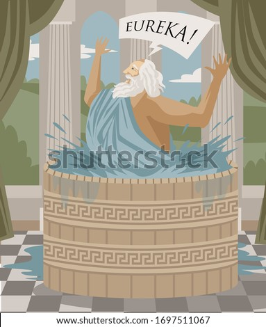 archimedes of syracusa ancient genius mathematician inventor saying eureka in the bath Сток-фото ©