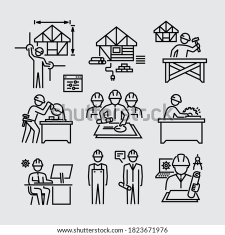 Architect Construction Worker Builder Carpenter Working Vector Line Icons