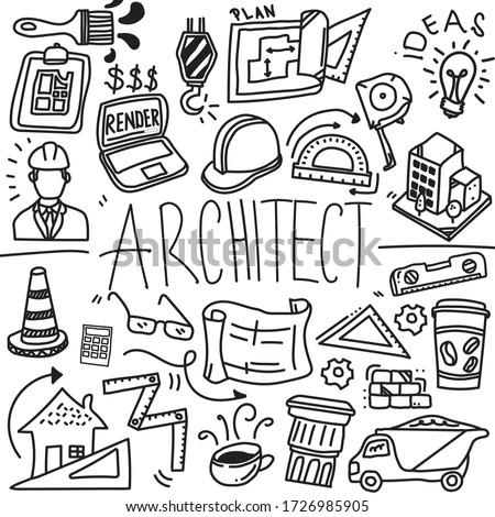 Architect Doodle Profession Line Icon Sketch, Construction Doodle Icon, Hand Made Vector Art, Architect Stuffs business concept