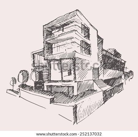 Architect Draft Of Modern New House Engraving Vector Illustration Building Design Concept Hand