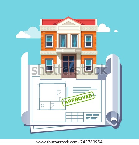 Architect floor plan blueprint of georgian architecture style building. Approved house plan stamp. Flat style vector illustration isolated on blue background.