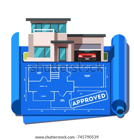 Architect floor plan blueprint of modern contemporary architecture style mansion building with car garage. Approved house plan stamp. Flat style vector illustration isolated on white background.