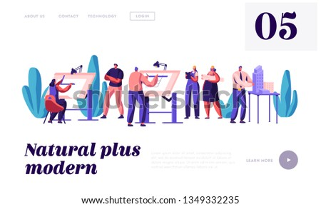 Architect People Projecting Construction Plan Landing Page. Engineer Working on Building Project on Architecture Board. Drawing Person in Office Website or Web Page. Flat Cartoon Vector Illustration