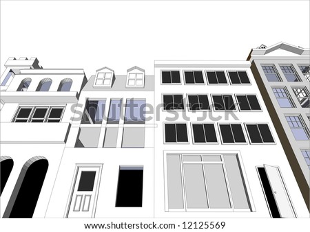 Architect's Eco friendly buildings featuring various dwellings and offices in vector format. Every feature of each building including doors and windows can be edited or colored to suit.