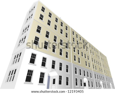 Architect's Home / Office Block in vector format. Every feature of each building including doors and windows can be edited or colored to suit.
