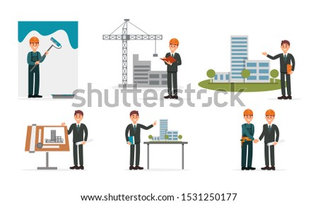 Architect Series With Designing Projects And Blueprints Vector Illustrations