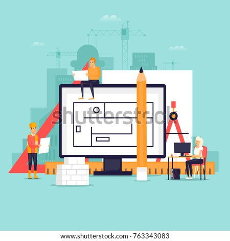 Architect workspace and tools. Flat design vector illustration.