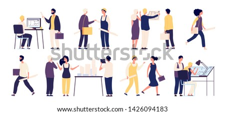 Architects and builders. Construction workers, occupational architect, professional engineer. Architectural vector isolated characters. Illustration architect and worker engineer, builder professional