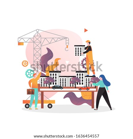 Architects and engineers working on architectural project of modern city buildings, vector illustration. Construction engineer services concept for web banner, website page etc.