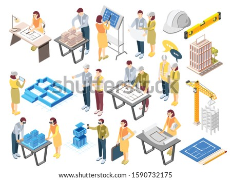 Architects engineers isometric icons set with office planning sketching drawing work construction site supervision recolor vector illustration