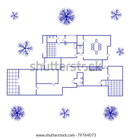 architectural background. blueprint of big house in blue color