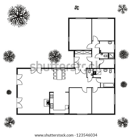 architectural background blueprint of house