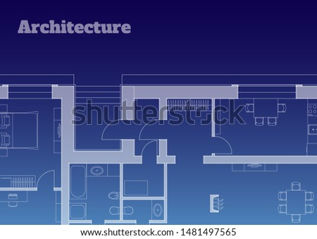 Architectural background. Part of architectural project, architectural plan of a residential building. Vector illustration EPS10