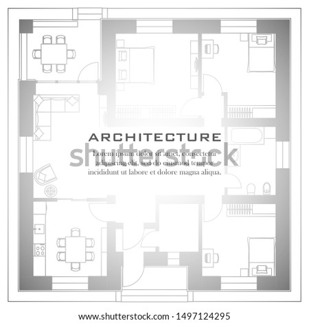 Architectural background. Part of architectural project, architectural plan of a residential building. Black and white vector illustration EPS10