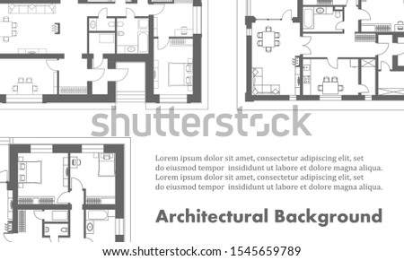 Architectural background. Part of architectural project, architectural plan of a residential building. Black and white vector illustration EPS10. Transparency used