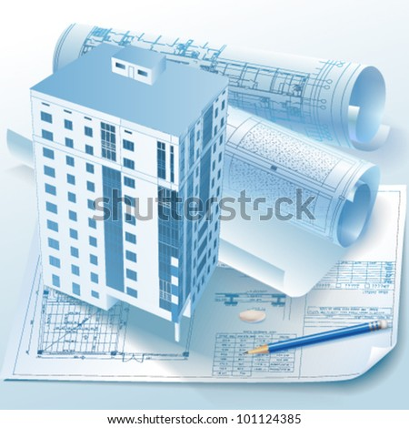 Architectural background. Part of architectural project, architectural plan, technical project, drawing technical letters, architect at work, Architecture planning on paper, construction plan