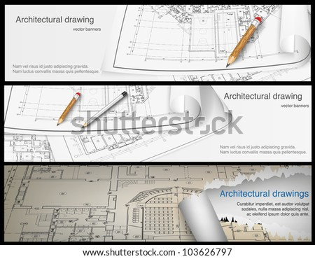 Architectural background. Part of architectural project, architectural plan, technical project, drawing technical letters, architect at work, Architecture planning on paper, construction plan. banners