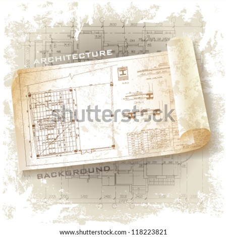 Architectural background. Part of architectural project, architectural plan, technical project, drawing technical letters, architecture planning on paper, construction plan