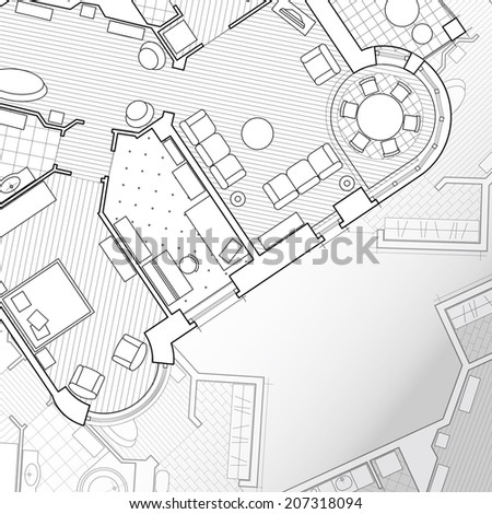 Architectural background.Vector flat projection with furniture Part of detailed architectural plan architectural project technical project construction plan