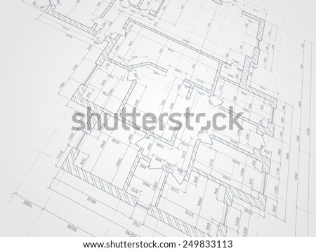 Part Of Abstract Architectural Project On The White Background