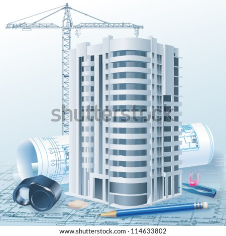 Architectural background with a 3D building model. Part of architectural project, architectural plan, technical project, drawing technical letters, architecture planning on paper, construction plan